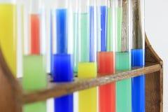 Glass test tubes on a rack Stock Photos