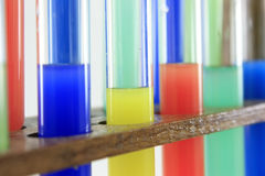 Glass test tubes on a rack Royalty Free Stock Photos