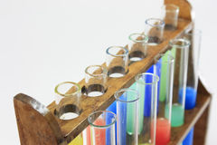Glass test tubes on a rack Stock Image