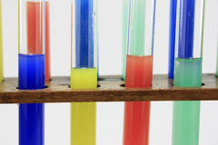 Glass test tubes on a rack Royalty Free Stock Image