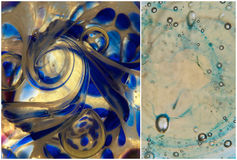 Glass texture. Abstract background of glass texture in different shades of blue and gold; colourful details from glass paperweights royalty free stock photos
