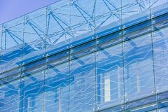Glass texture close-up. Modern architecture, Vilnius. New building concept royalty free stock photos
