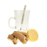 Glass, thermometer, lemon, ginger Royalty Free Stock Images