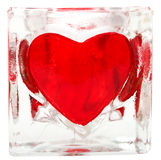 Glass tile with heart. Isolated Royalty Free Stock Photos