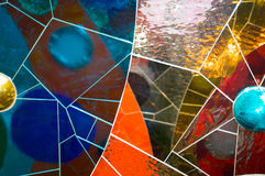 Glass and tile mosaic. Multicolored glass and tile mosaic creating abstract shapes Royalty Free Stock Photo