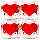 Glass tiles with red hearts Royalty Free Stock Photo