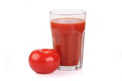 Glass of tomato juice. Fresh tomato juice on white background Stock Photo