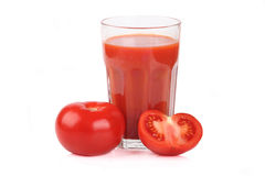 Glass of tomato juice Stock Photos