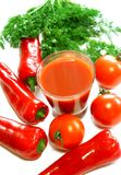 glass of tomato juice, fresh tomatoes, paprika an Stock Photo