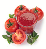 Glass of tomato juice and fruits Royalty Free Stock Images