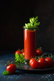 Glass of tomato juice. Served with  cucumber and celery Royalty Free Stock Photo