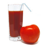 Glass of tomato juice with tomato and tubule. Isolated on white background Royalty Free Stock Photography