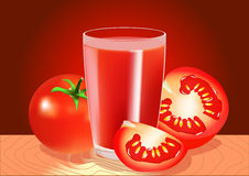 A glass of tomato juice and tomatoes Stock Photo