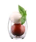 Glass of tomato and mozarella. Stock Image