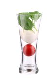 Glass of tomato and mozarella. Stock Photos