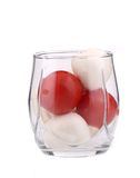 Glass of tomato and mozarella. Royalty Free Stock Photography