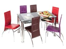 Glass top dining table and chairs Royalty Free Stock Image