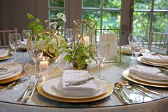 A Luxurious Garden Banquet Table Royalty Free Stock Photography