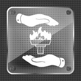 Glass torch icon with flame and flat hands Royalty Free Stock Photo