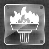 Glass torch icon with flame Royalty Free Stock Images