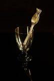 Glass torktumlare och gafflar Royaltyfri Fotografi