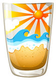 A glass with a touch of summer. Illustration of a glass with a touch of summer on a white background Stock Image