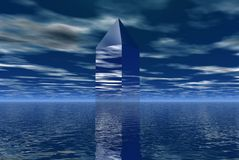 Glass tower. In the middle of water Stock Photos