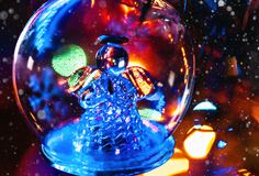 Glass toy angel for Christmas tree closeup. Christmas glass toy angel for Christmas tree closeup. Christmas background stock image