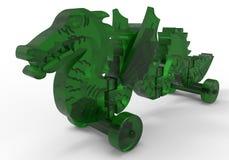 Glass toy dragon on wheels Stock Photos