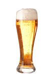 Glass of translucent frothy beer stock images