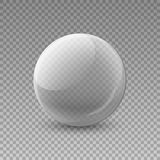 Glass transparent ball,  illustration on a clean backgroun. D. Decoration, crystal glass sphere 3d. The object for your Projects summary Stock Images