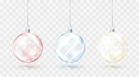 Glass transparent Christmas balls. Element christmas decorations. Shiny colorful toys with golden red and blue glow. Vector. Illustration isolated on stock illustration