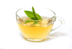 Glass transparent cup with tea and green mint leaf Stock Image