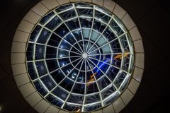 Glass transparent dome, bottom view at night.  stock photos