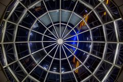 Glass transparent dome, bottom view at night.  royalty free stock photography
