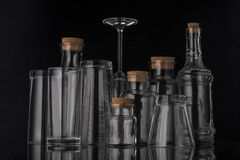 Glass, transparent glassware with beautiful white highlights. stock photography