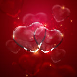 Glass transparent heart couple with sparkles. Stock Photos