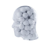 Glass transparent human head filled with golf balls Royalty Free Stock Photos