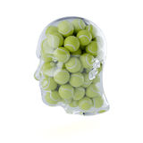 Glass transparent human head filled with tennis balls Royalty Free Stock Photos