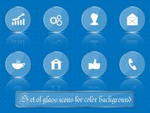 Glass transparent icons for any colored background. A set of several parts. Part 1 Royalty Free Stock Photography