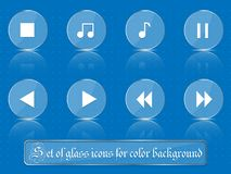 Glass transparent icons for any colored background. A set of several parts. Part 5 Stock Photography