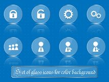Glass transparent icons for any colored background. A set of several parts. Part 6. Set of flat icons in retro style  on colored buttons with transparent Stock Photos