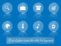 Glass transparent icons for any colored background. A set of several parts. Part 8. Set of flat icons in retro style  on colored buttons with transparent Stock Image