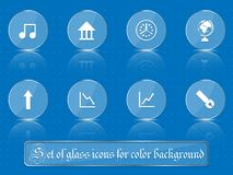 Glass transparent icons for any colored background. A set of several parts. Part 3 Royalty Free Stock Photography
