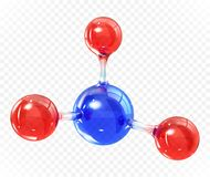 Glass transparent molecule model. Reflective and refractive abstract molecular shape isolated on transparent background. Realistic vector illustration royalty free illustration