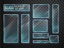 Glass transparent plates set. Vector glass modern banners isolated on transparent background. Flat glass. Realistic 3D design. Vec Royalty Free Stock Images