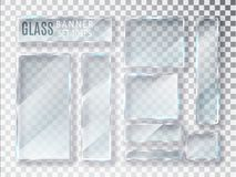 Glass transparent plates set. Vector glass modern banners isolated on transparent background. Flat glass. Realistic 3D design. Vec Stock Image