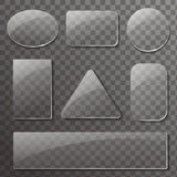 Glass transparent plates set. Vector rectangular and round buttons Royalty Free Stock Images
