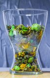 Glass transparent vase with dry decorative flowers, fruits, plants stock image