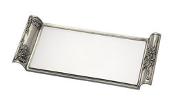 Glass tray with pewter handles Royalty Free Stock Image